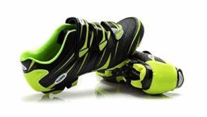 Tiebao Chaussures de Cyclisme VTT Vélo Respirantes Professionnelles Antidérapantes Hommes et Femmes Noir/Vert, 42 EU