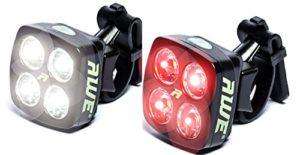 AWE® AWEBlitzTM 8 LED's USB Rechargeable vélos avant et arrière Lumière Set 120 Lumens