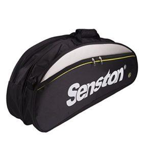 Senston sacs de raquette de badminton, sac à bandoulière de la raquette, sac 6 de la raquette, eau et la poussière.(Noir)