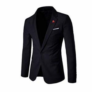 Blazer Men's Élégant Casual Blazer Solide d'affaires De Mariage Biker Veste Partie Outwear Manteau Costume Tops