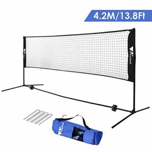 amzdeal 4,2m Filet de Badminton/Tennis, Réglable en Hauteur 1,5m Max, Filet Portable en Nylon avec Support Pieds pour Badminton, Volley-Ball, Tennis (Noir)