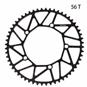 6SHINE Plateau de vélo de Course Positif et négatif à Disque Unique, Dents Pratiques, 50T, 52T, 54T, 56T, 58T, Show, 56t