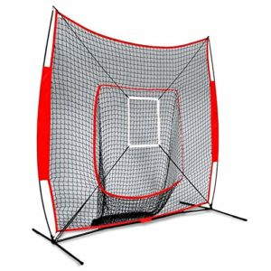 7x7ft Youth Multi-Sport Filet Pitch arrière d'écran,Baseball and Softball Pitchback Rebound Net avec Une Cible