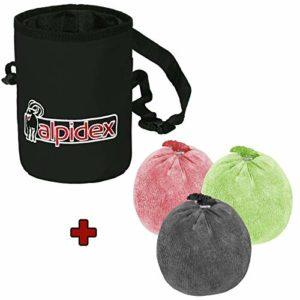 ALPIDEX Chalk Bag Sac de Craie Escalade + 3 x Boule de Craie 60 g en différentes Couleurs