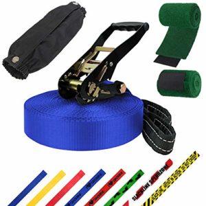 ALPIDEX Slackline 25 m 3 t + 2 x Protections pour Arbre + Protection de tendeur, Couleur:Bleu