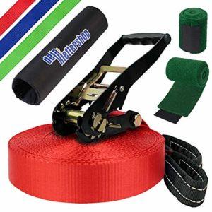 ALPIDEX Slackline 30 m 3t + 2 x Protections pour Arbre + Protection de tendeur, Couleur:Rouge