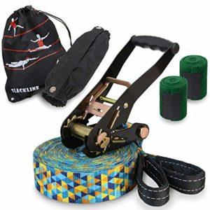 ALPIDEX Slackline Set 15 m + Protections pour Arbre et Protection cliquet, Convient aux Enfants, débutants et avancés