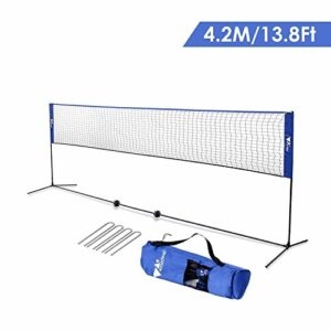 amzdeal 4,2m Filet de Badminton/Tennis, Réglable en Hauteur 1,5m Max, Filet Portable en Nylon avec Support Pieds pour Badminton, Volley-Ball, Tennis (Blue)
