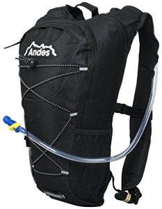 Andes – Sac à dos avec poche à eau – pour cyclisme/course à pied – poche à eau de 2 L – Noir