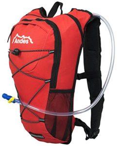 Andes – Sac à dos avec poche à eau – pour cyclisme/course à pied – poche à eau de 2 L – Rouge