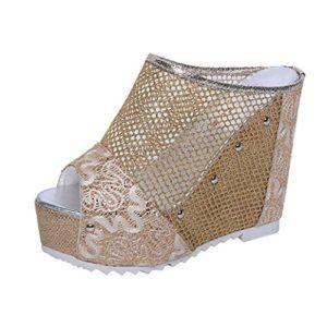 Angelof Sandales Femmes, Chaussures Haut Talon D'éTé Dames Sandales A Lacet Femmes Flip Flop Creux Sandale Compensee Soiree Chic (37, Or)