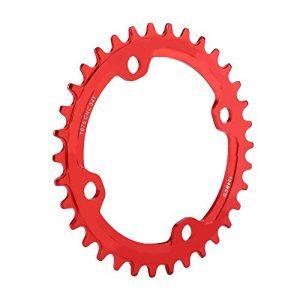 Asixx Plateau de Pédalier BCD 104, Anneau de Chaîne de Manivelle Vélo VTT en Acier, Pièces de Réparation Bike Chain Ring, 32/34/36/38 Dents(Rouge 34 Dents)