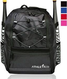 Athletico Youth Batte de baseball Bag–Sac à dos pour Baseball, T-Ball et équipement de softball et Gear pour garçons et filles   Peut contenir Batte, casque, gant   Clôture Crochet