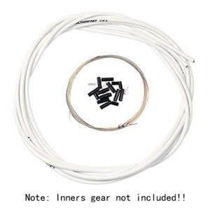 Aulola Kit de câbles et de gaines pour freins et dérailleurs avant et arrière pour vélos, blanc