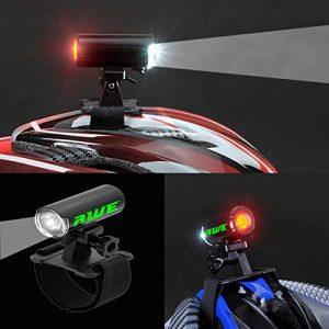 AWE USB RECHARGEABLE Lumière pour casque double de 120 Lumens LED avant/arrière PAS DE POINTS NOIRS