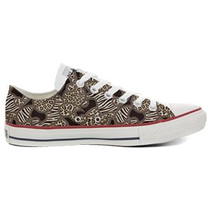 Baskets All American USA Base Type Star Unisexe – Imprimé Vintage 1200 dpi – Italian Style – Chaussures Fines (Fabrication Artisanale) Jungle – Multicolore – Multicolore, 46 EU Weit