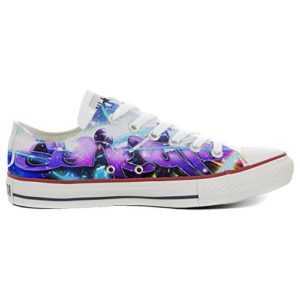 Baskets All American USA Base Type Star Unisexe – Imprimé Vintage 1200dpi – Italian Style – Chaussures personnalisées (Produit Artisanal) Slim Pop Style – Multicolore – Multicolore, 32 EU Weit