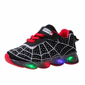 Baskets Enfants Garcons avec Lumière LED Chaussures Clignotant Chaussures de Sport Baseball Trail Running Chaussures à Fond Souple Araignée Tyoby(Noir,26)