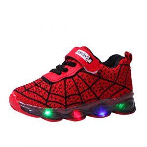 Baskets Enfants Garcons avec Lumière LED Chaussures Clignotant Chaussures de Sport Baseball Trail Running Chaussures à Fond Souple Araignée Tyoby(rouge,34)