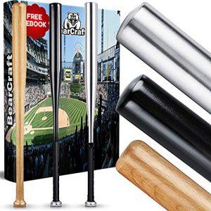 BearCraft Batte de Baseball en Bois ou en Aluminium   avec 79 cm de Longueur – Solid traité (Bois, 79)