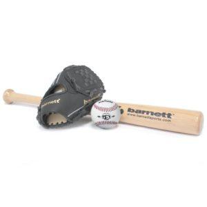 BGBW-1 Set Baseball, Batte en Bois, Gant, Balle Senior (BBW-32, JL-120, BS-1)