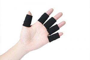 Bllomsem 10 protège-doigt élastiques, protection de doigts avec arthrose aide au sport Noir