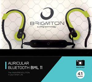 Brigmton BML 11 écouteur Monophonique sans Fil Noir, Vert Casque et Micro – Casques et micros (sans Fil, écouteur, Monophonique, Intraaural, 20-20000 Hz, Noir, Vert)