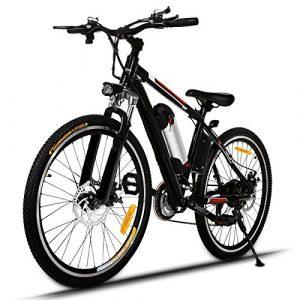 Bunao Vélo électrique pour vélo de Montagne électrique avec moyeu Shimano 21 Vitesses, 250W, 8AH, Batterie Lithium-ION 36V, 26″, vélo de Ville léger, vélo de Ville Pedelec (Noir)