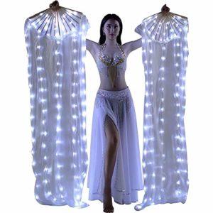 Byfjkkl Voile De Fan De Danse du Ventre LED, 1,8 Fan De Soie Fabriqué À La Main De Voile De Ventilateurs en Bambou pour La Danse Professionnelle Adulte,Blanc,2Pair