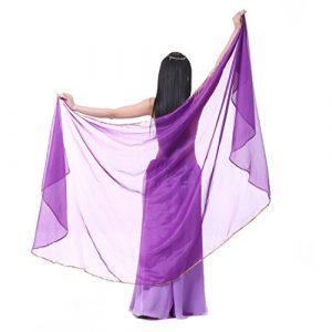 Calcifer 250cmx120cm Semi-Circulaire en Mousseline de Soie Belly Dance Foulard voiles Accessoires pour Femme–Professional Dancer, Violet foncé