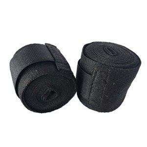 Camellia Largeur 5cm Longueur 2.5M Sangle de Sport en Coton Sanda Muay Wraps Bandage Professionnel thaïlandais MMA Taekwondo Bandage (Noir)