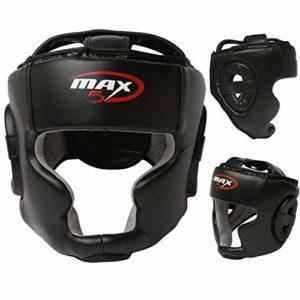 Casque de Boxe Unisexe Senior – MMA Arts Martiaux Kick Fight Entraînement – Sparring Gear de Protection Zero Impact, Noir, Sénior