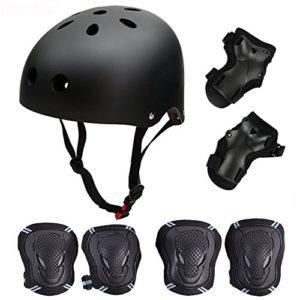 Casque de Kit de Protections 6 pièces Casque de BMX Pads Genouillères de coude avec des protège-Poignets pour Patin, vélo, Skateboard, Scooter Taille M