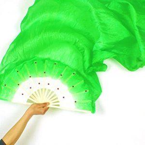 Centeraly Éventail de Danse Chinoise DAMA carré en Bambou pour Femme Multicolore, Vert