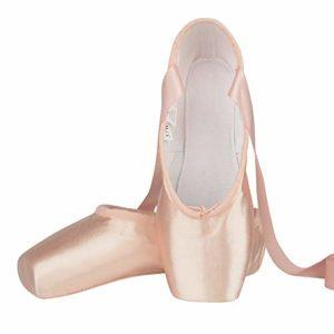 Chaussure de Danse de Pointe Chaussures de Ballet en Satin Rose avec Capuchons d'orteils Protecteurs et Ruban pour Femme Fille 35 EU