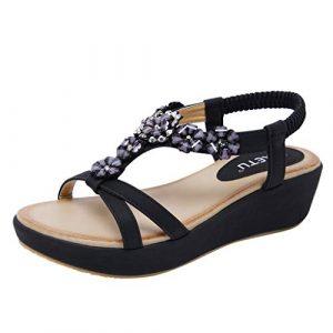 Chaussure été Femme Talon Sandales Compensées Femme Nu Pied avec Strass Chaussures de Plage Bohême (36 EU, Noir)