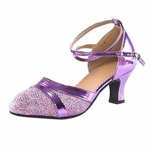 Chaussures de Danse pour Femme/Latin/Standard/Sandales de Danse Criss Cross Strap Metal Boucle Chaussures de Danse Performance – Noir – Violet, 39.5 EU