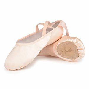 Chaussures de Danse Satin Demi Pointe Pantoufle de Ballet avec Ruban Rose Ballerine pour Enfants et Adulte 32 EU