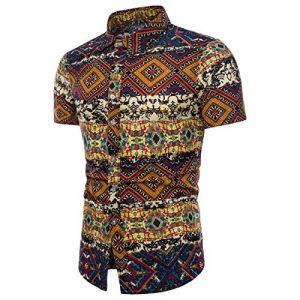 Chemises Homme Chemises Hawaiennes Homme Grande Taille Hommes éTé Bohe Floral Manches Courtes Lin T-Shirt Basique Blouse Top (XL, Jaune)