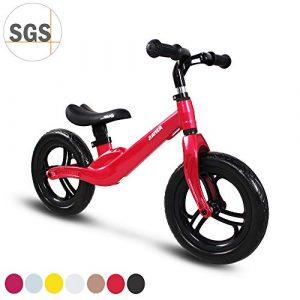 COEWSKE 12″Balance Bike Alliage de magnésium sans pédale Vélo d'entraînement d'équilibre pour Enfants et Tout-Petits de 2 à 4 Ans (Rouge)