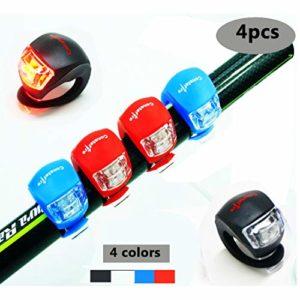 Constefire Vélo LED Lampe de Vélo Avant et Arrière, 4PCS éclairage Phare et Feu Arrière Puissant LED Lumière Vélo Impermeable pour VTT VTC Cyclisme Poussette Camping