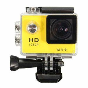 Contactsly Caméra Sport 1,5 Pouces 1080P FHD WiFi Mini DV Action Sport Voiture caméra étanche Buit Batterie au Lithium (Couleur : Jaune, Taille : Taille Unique)