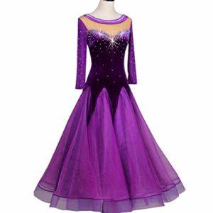 Costume de Compétition de Performance de Danse de Salon Professionnel avec Strass Manche Longue Grande Balançoire Velours Robes de Danse Moderne Tango,Purple,XL
