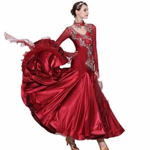 Costume de Compétition Professionnelle Danse Moderne Brodé à la Main Strass Brillant Collant Robe de Spectacle de Danse de Salon Tango Valse Élastique Spandex Jupe Soie de Simulation,Burgundy,M