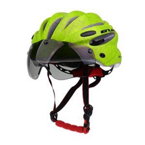 CUTICATE MTB Vélo Vélo Motocyclette Casque De Sécurité avec Visière – Vert Fluo, Unique
