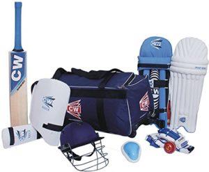 CW Academy 9Article de Cricket kit Bleu Grande Taille 6Complet de Cricket de Batteur Accessoires Match Ensemble de Cachemire Saule Batte Sac de Roue (Kit) pour 11-12YR Junior Joueurs