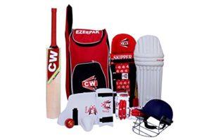 CW Sports de cricket kit Rouge Taille N ° 6avec du cachemire en osier de qualité premium Batte de cricket Ezzepack épaule kit Sac Idéal pour les 11-12ans enfant