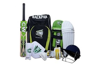 CW Sports de cricket kit Vert avec Ligue 20-20 English Willow Batte de cricket à manche court complet incluant tous les accessoires de cricket + Sac à dos épaule de cricket kit Sac, Green, Size 4 Ideal For 7-8 Year Child