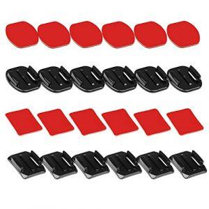 D&F 6 pcs ruban adhésif incurvé + 6 pcs Plat Autocollant VHB adhésif double face Mounts avec adaptateur pour caméra Gopro SJCAM YI 4 K Action Camera et casque kit d'accessoires