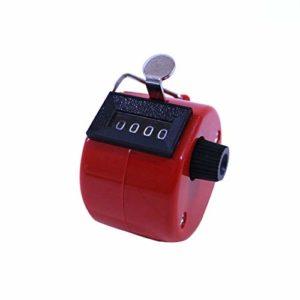 DF-FR Compteur Manuel mécanique à 4 Chiffres pour compteurs de Paume en métal Jouets éducatifs pour Enfants (Couleur: Rouge)